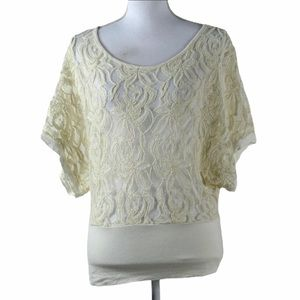 Green Envelope Cream Floral Lace Top